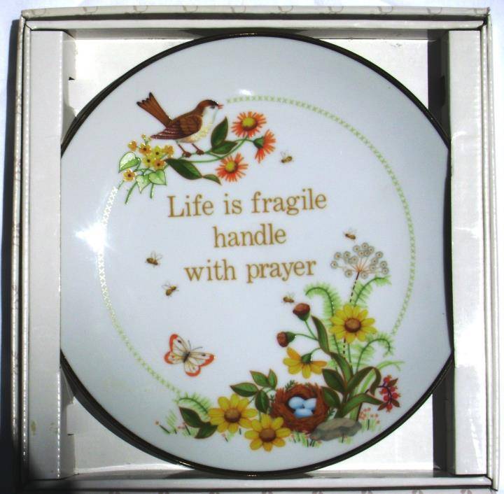 Life is Fragile Collector's Plate Creative Circle NIB + Certif of Authenticity