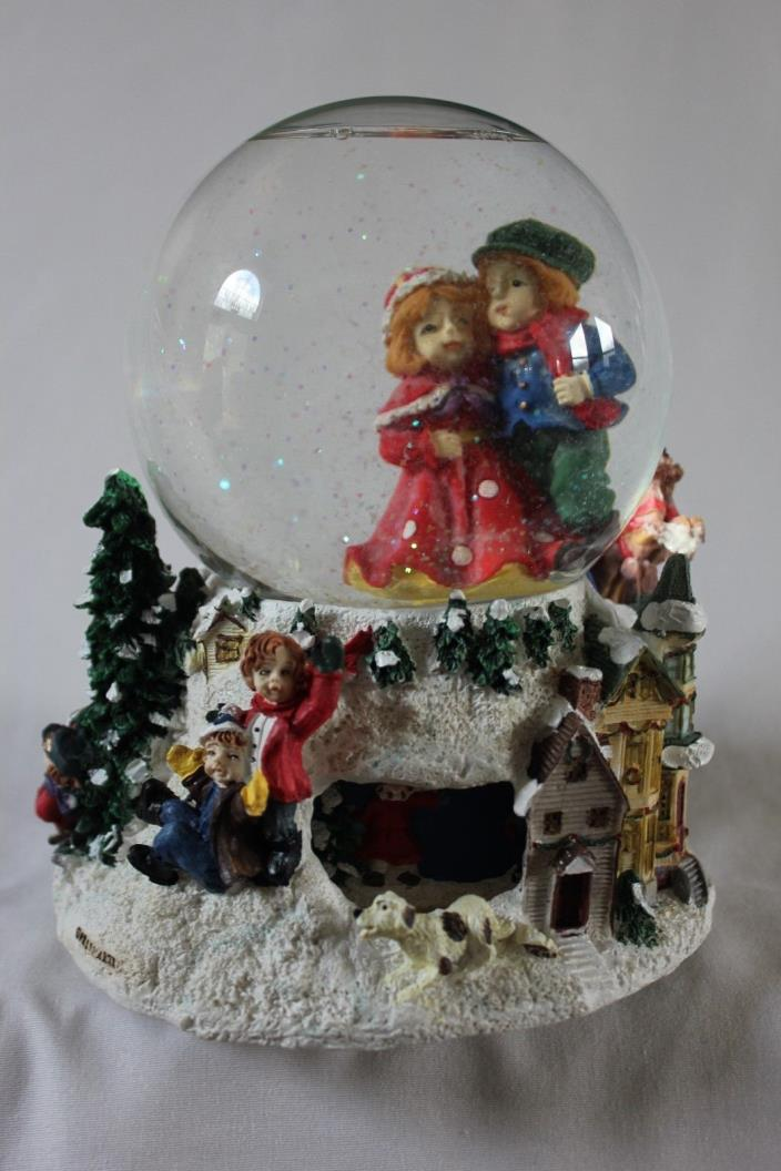 Muscial Christmas Snowglobe dancing children revolving base