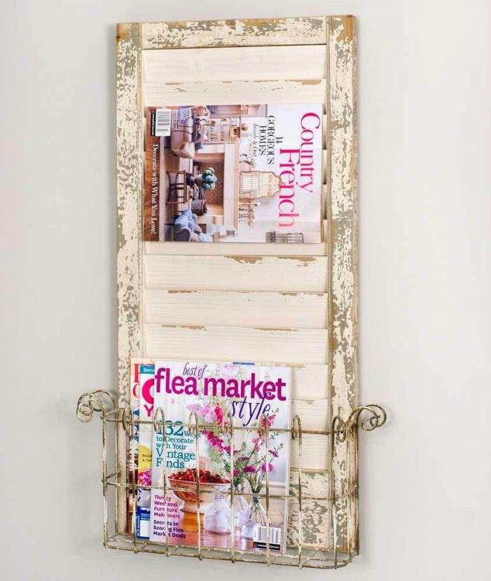 Shutter Magazine Rack Metal Basket Wall Hanging Farmhouse Style Rustic New
