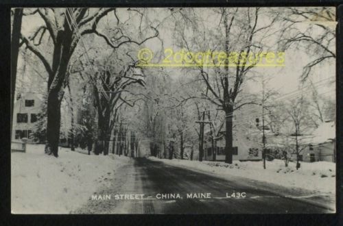 Rppc Main Street China Me Maine Winter View Old Kennebec County Real Photo