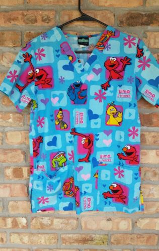Sesame Street Scrubs Top Elmo & Friends Size Extra Small XS