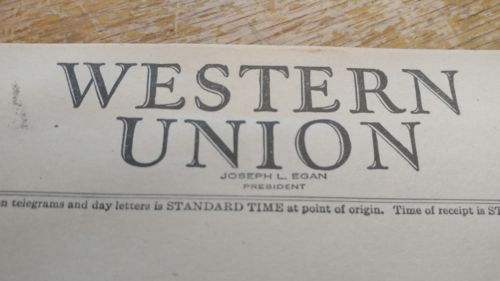 Vintage Western Union Message Blank Form 1945