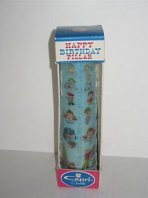 Vintage Happy Birthday Pillar 16 Year Candle Original Box Capri Candles