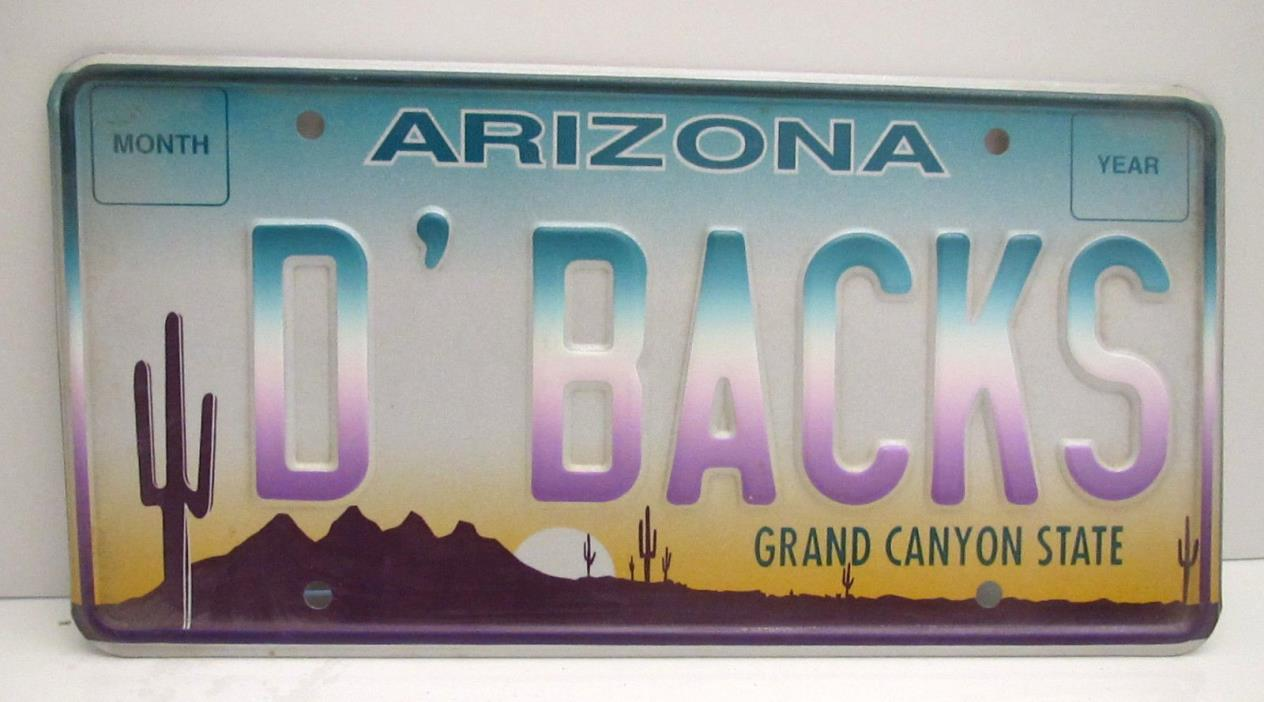 1998 Inaugural Arizona Diamondbacks D'BACKS Metal License Plate