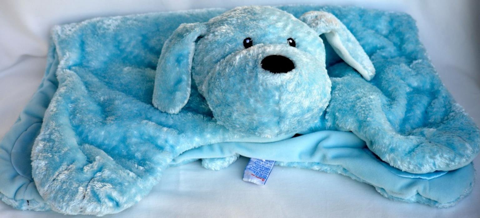 Gund Baby Fluffey Comfy Cozy Stuffed Bear Blanket Light Blue 5.5