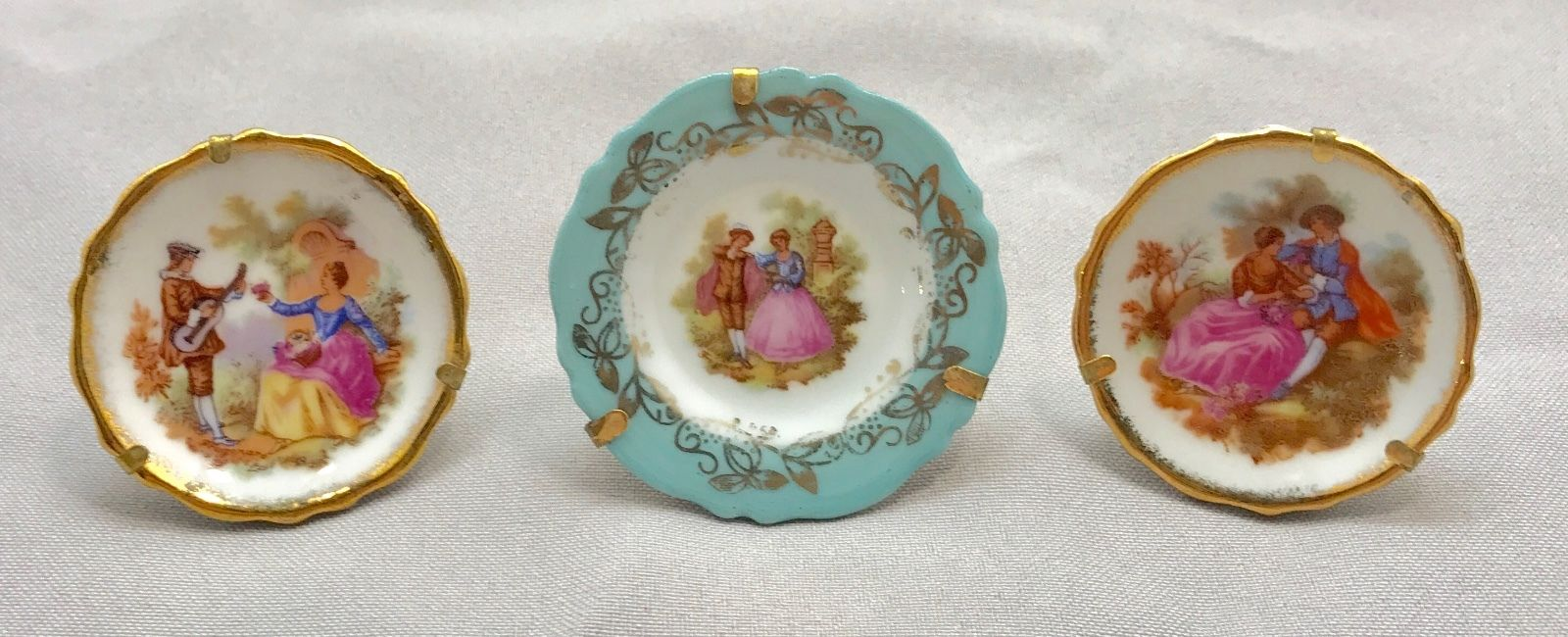 Three Limoges France miniature MINI plates w stands, great for doll houses