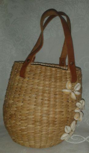 Spirit Round Wicker Seashell Basket Purse Leather Straps Inner Yellow VTG