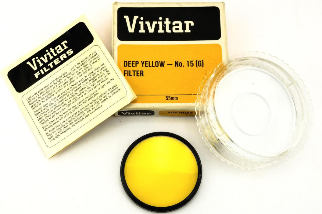 Vintage Vivitar Deep Yellow Filter 15(G) 55mm W/ Case & Box Made In Japan