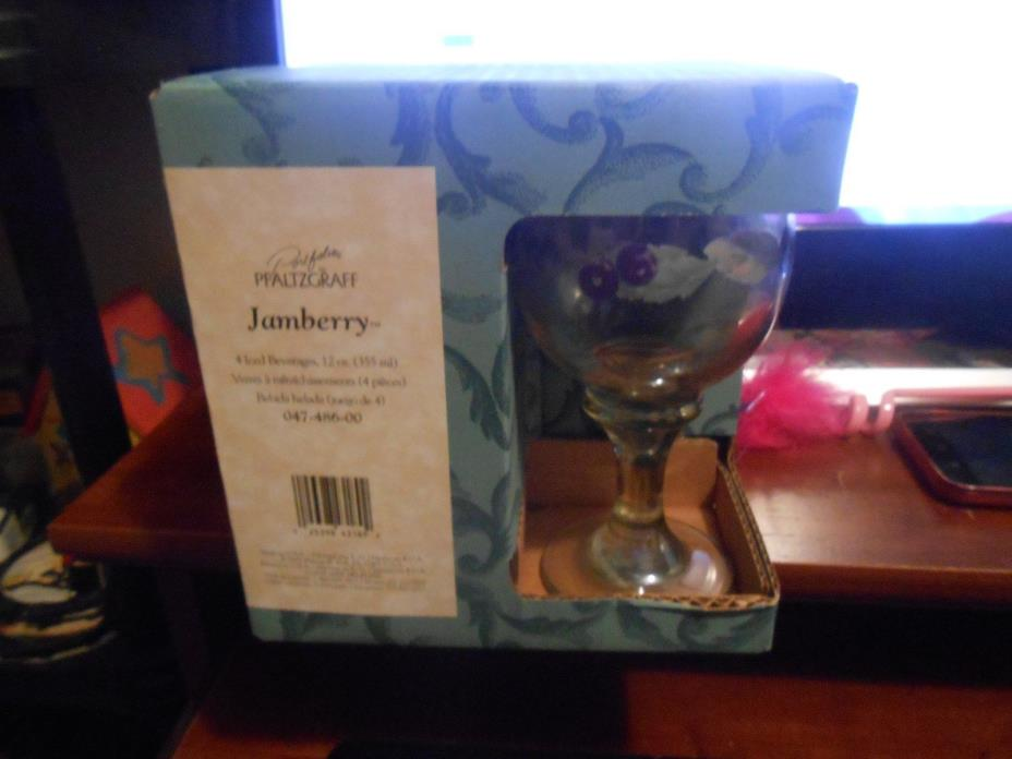 New in Box Pfaltzgraff Glassware Jamberry set of 4 - 12 oz Iced Tea Beverages