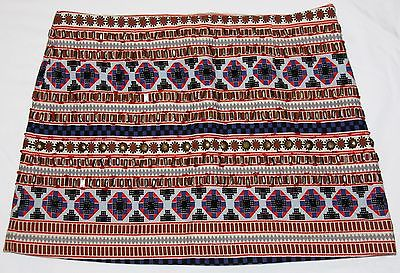 Forever 21 Beaded Tribal Fully Lined Blue Red Brown Black Mini Skirt Size 26
