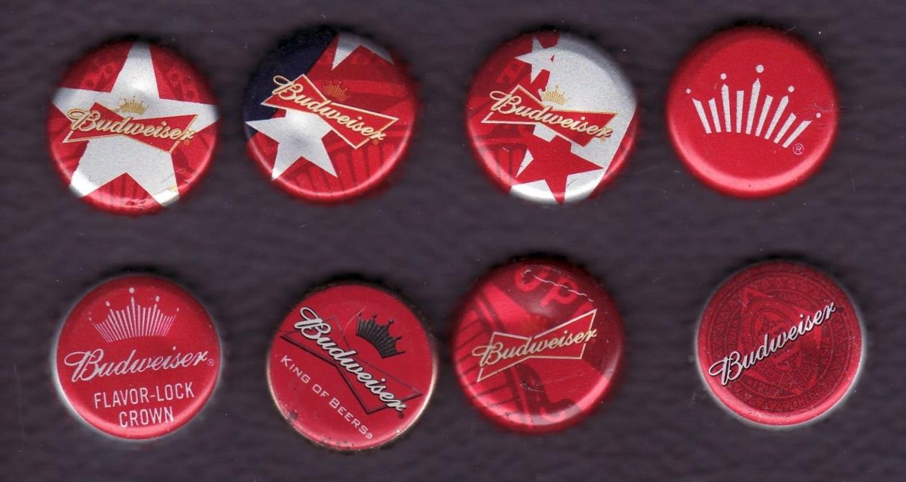 LOT of 8 DIFFERENT RED  BUDWEISER BEER CAPS
