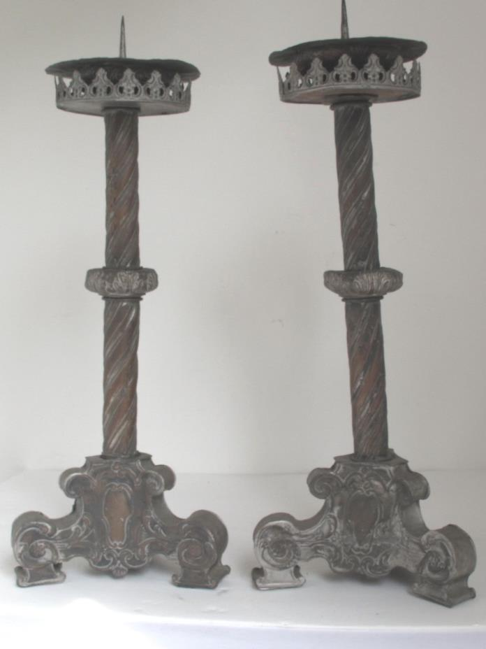 Antique 18th c. Baroque Silver Gilt over Copper Candle Prickets / Holders