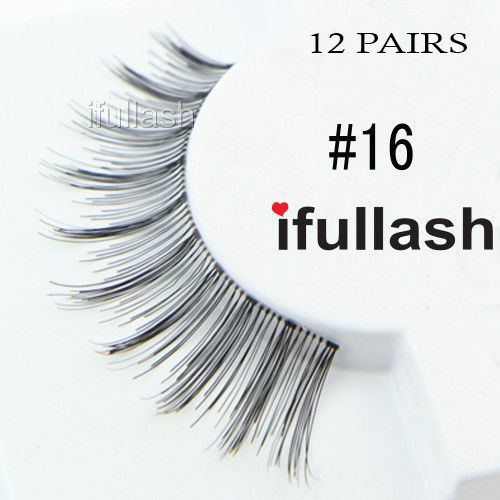 #16 12 Pairs Ifullash 100% BLK Human Hair Eyelashes *US SELLER* Fast Ship!