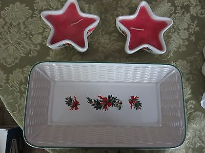 Pfaltzgraff USA Christmas Heritage Star Candle Holders & Basketweave Tray