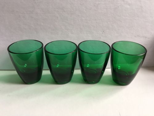 FRANCE Green Coloured Vintage Shot Glasses Set Of 4