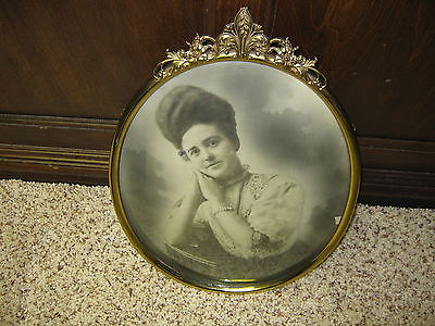 Vintage Oval Curved Glass Picture of Beautiful Lady in Great Brass Frame 16 inch