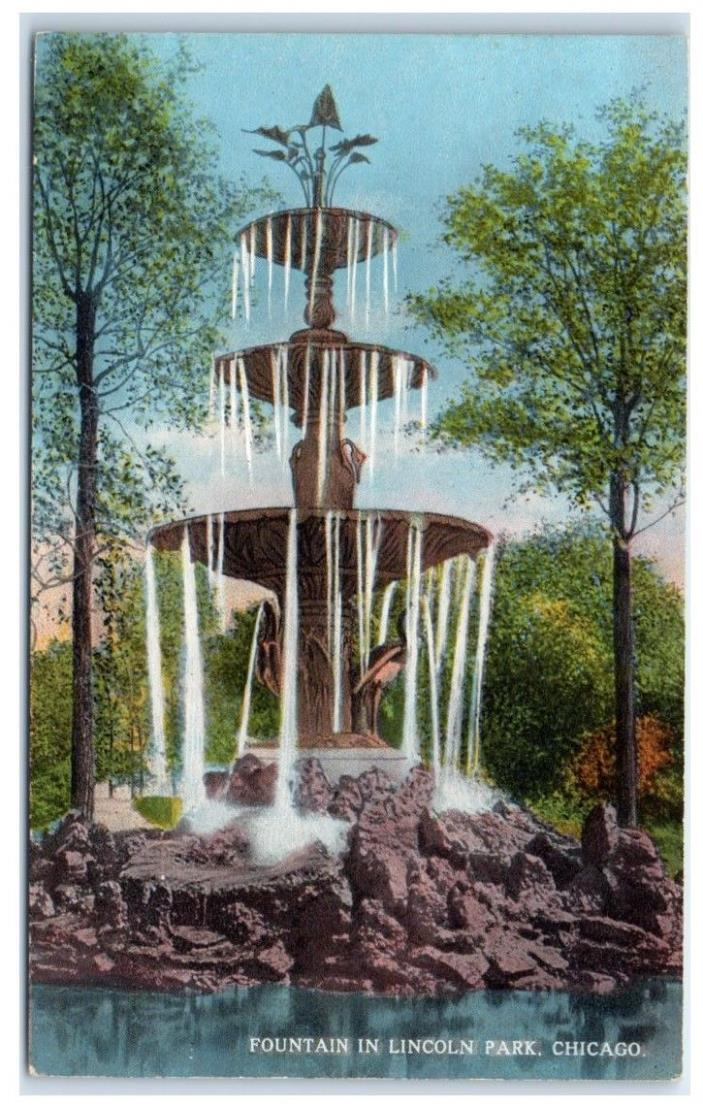 Early 1900s Fountain in Lincoln Park, Chicago, IL Postcard
