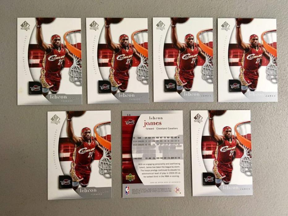 (x7) 2005-06 Upper Deck SP Authentic LEBRON JAMES lot/set #14 3rd year card Cavs