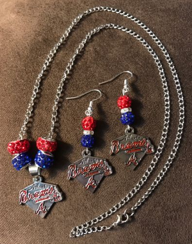 Atlanta Braves Bling necklace and earrings set with Logo charms