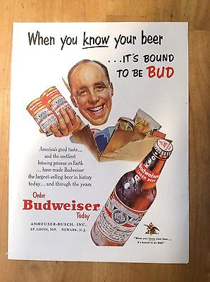 Budweiser Beer Vintage Magazine Ad - When You Know Beer