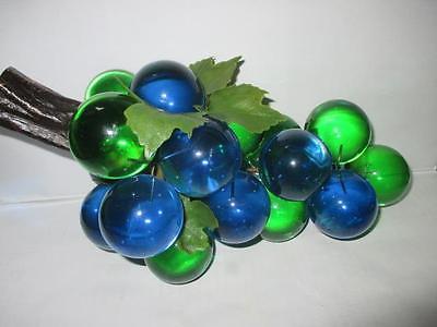 Vintage Eames Era Green & Blue  Acrylic Lucite Grapes Driftwood