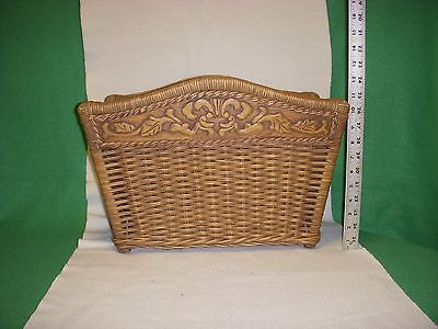 WOVEN WICKER & CARVED  WOOD QUALITY MAGAZINE RACK HOLDER- STORAGE