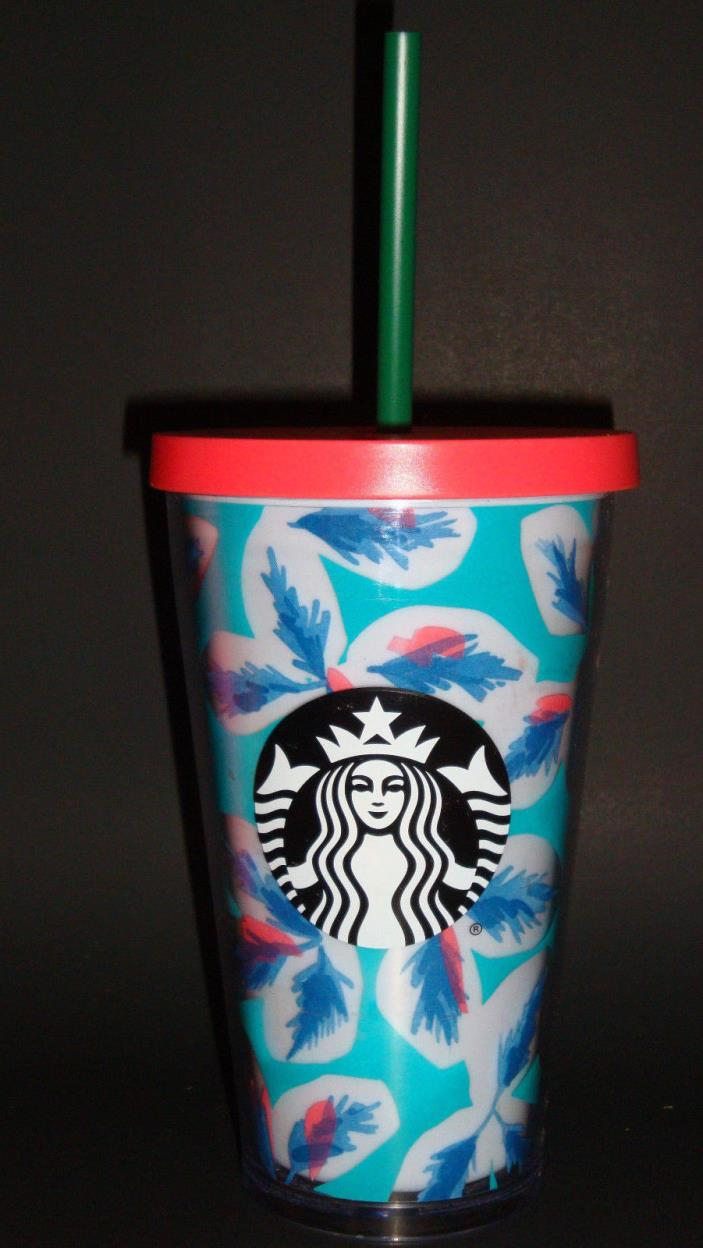 NEW STARBUCKS 2017 TEAL LEAVES COLD CUP 16 fl oz ..FREE SHIPPING