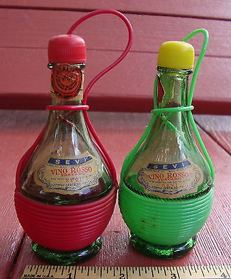 Vintage Italian Sevi Vino Rosso Wine Bottles Salt and Pepper Shakers, Green Glas
