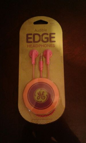 GE Audible Edge Headphones 3.5 mm Plug Hot Pink!!