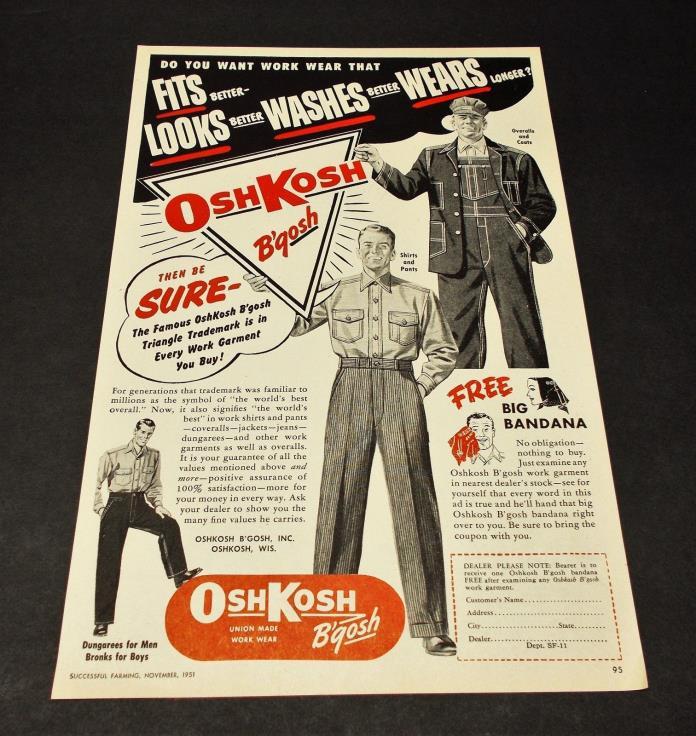 1951 OSHKOSH B'gosh clothing ad
