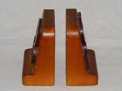 VINTAGE  OLD FOLK ART WOOD WOODEN BOOK ENDS   BOOKENDS ~ LETTER S