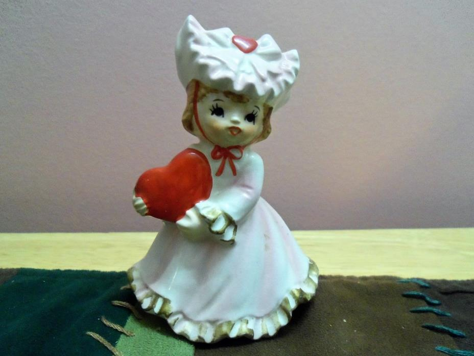 VINTAGE ~ GIRL WITH RED HEART VALENTINE FIGURINE ~ LEFTON JAPAN #1435