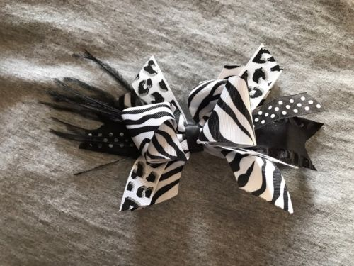 Girls Black & White Zebra Hair Bow