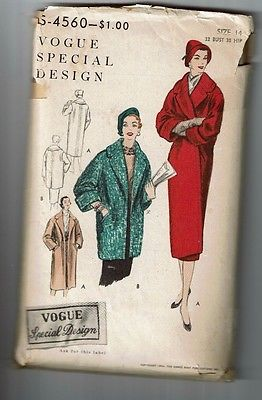 Vogue # 4560 VTG Special Design Coat in two Lengths Pattern Sz 14 used
