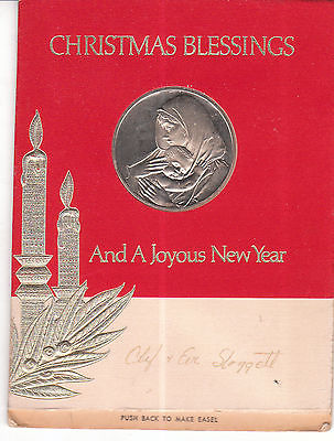 1967 FRANKLIN MINT MOTHER AND CHILD CHRISTMAS CARD AND MEDAL NO.123C