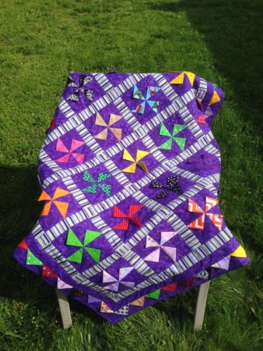 New Purple Stars and Swirls Handcrafted Baby/Lap/Crib Quilt 46