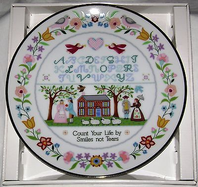 Jacobean Sampler Collector's Plate Creative Circle NIB + Certic of Authenticity