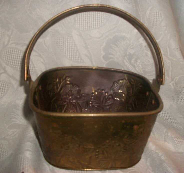 SQUARE BRASS HANDLED BASKET WITH IMPRESSED FLOWERS MADE IN INDIA