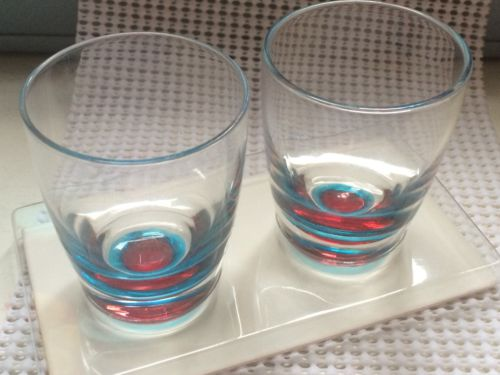 STARBUCKS Shot Glass Colored Set Of 2 NIB 192137 Dated 2005