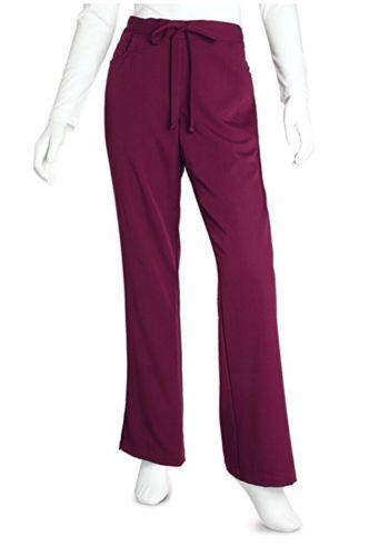 Grey's Anatomy Women's Junior-Fit Five-Pocket Drawstring Scrub Pant Wine Size M