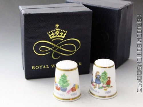VINTAGE ROYAL WORCESTER CHRISTMAS THIMBLES