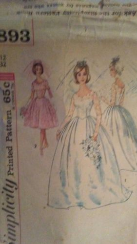 Vtg Simplicity 4893 Misses One Piece Wedding Dress Sewing Pattern Factory Folded