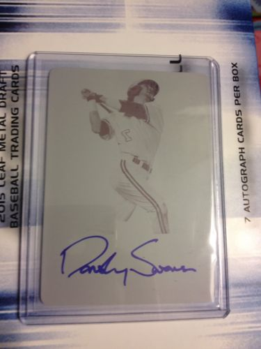 Dansby Swanson 2015 Leaf Metal Draft Magenta Printing Plate on card Auto #'d 1/1
