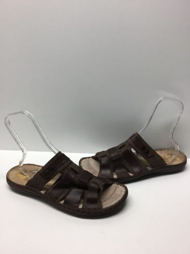Aldo Men's Brown Leather Lined Slip On Sandals Size 13 M
