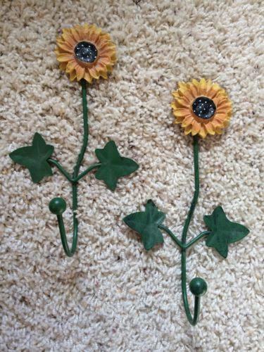 New Lot of 2- New Sunflower Wall Hooks 8