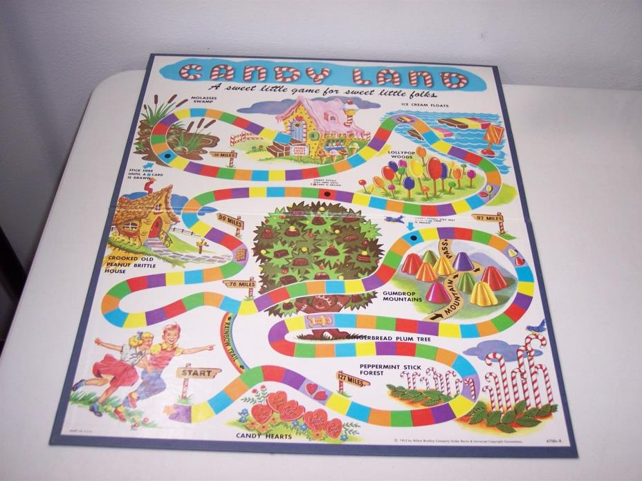 1962 Candy Land Game BOARD ONLY Milton Bradley replacement