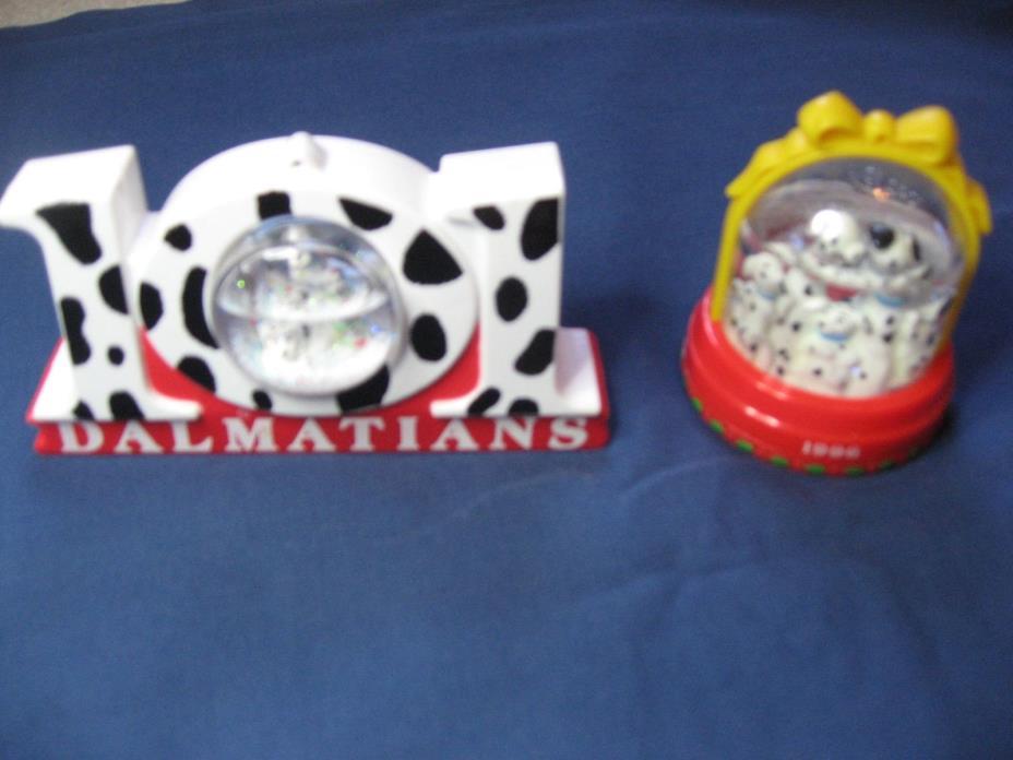 2 Disney's 101 Dalmatians McDonald's Toys Snow Globes