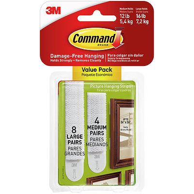 NEW! Command Picture Hanging Strips 24/Pkg-8 Medium Strips & 16 Large Strips