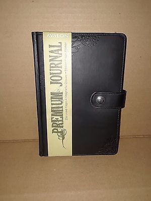 Avalon Premium Journal Black 256 Lined Pages Magnetic Closure Ribbon Page Marker