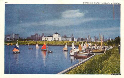 1950s Burnham Park Harbor Sailboats Chicago Illinois postcard 6078